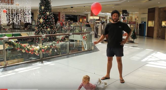 christmas shapping with a baby